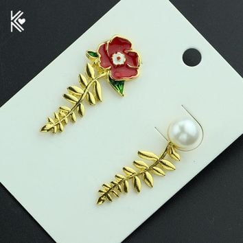 Beauty and the Beast Earrings Ear Cuff Belle Cosplay Rose Jewelry  Gold Earrings Fairy Tale Movie Victorian Jewelry with Card