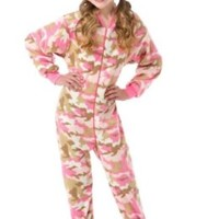Big Feet Pjs Pink Camo Kids Footed Pajamas (M)