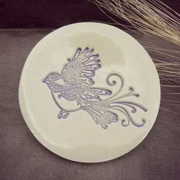 Bird Ceramic Dish African Violet and Mint Green  Wedding Decor Plate White Ring Holder