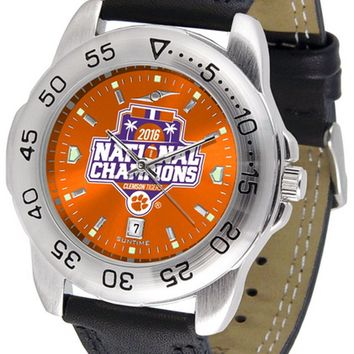 Clemson Tigers Mens Sport Watch Anochrome Leather Band 2016 Championship