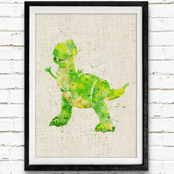 Toy Story Rex, Disney Watercolor Print, Baby Nursery Room Art, Home Decor, Not Framed, Buy 2 Get 1 Free!