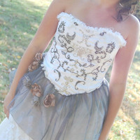 Alternative Wedding Gown or Formal or Bridesmaids Dress Steampunk Couture One of a Kind BoHo Style