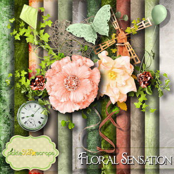 Flower Scrapbooking Kit Floral printable Flower Papers Floral Sensation Printable Backgrounds 12x12 Floral Paper FREE Quickpage Layout