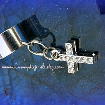 Rhinestone Ear Cuf, Cross, Direct Checkout, Religious Jewelry