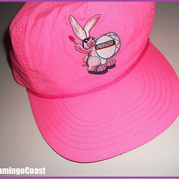 Vintage 80s Energizer Bunny Neon Hot Pink Snap Back Hat Excellent Condition Collectible