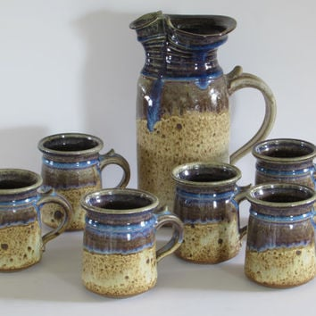 Beautiful Stoneware Pottery - Earthy Brown and Purplish-Blue Drip Design Motif 7-Piece Coffee Pot and Mugs Set - Vintage Home Kitchen Decor