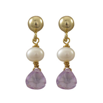 Gold Plated Sterling Silver Post Earrings With Dangling White 4mm Pearl and Lavender 5x5mm Teardrop CZ, 0.71