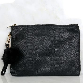 For Goodness Snakeskin Clutch Black