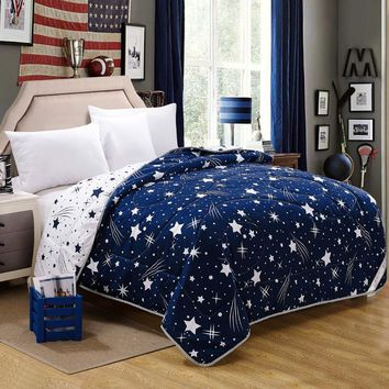 2017 star moon patchwork quilt home textile Summer comforter 200*230cm polyester blanket thin comforter geometric stripe white