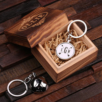 Personalized Polished Stainless Steel Key Chain – Soccer Ball with Box