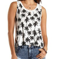 White Palm Trees Graphic Muscle Tee by Charlotte Russe