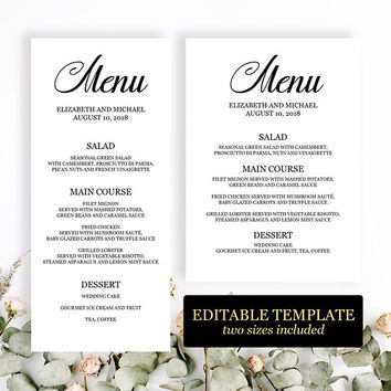 Elegant menu template, Wedding menu template editable printable, Dinner party menu cards 4x9 5x7, Rehearsal dinner menu template download