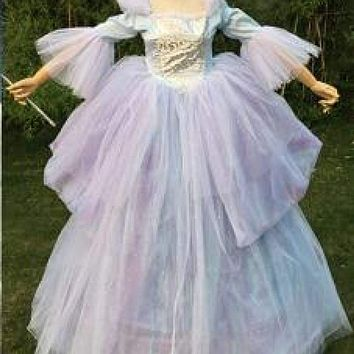 Fast Shipping!! Custom Made Adult Women Oneline Fairy Godmother Dress Wig Cosplay Long Blue Fairy Godmother Costume Macchar Cosplay Catalogue