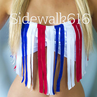 Red White Blue Fringe Bandeau Bikini Swim Top