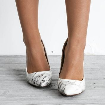 Just In Time White Marble Heels