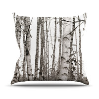 "Monika Strigel ""Birchwood"" Gray Forest Throw Pillow"