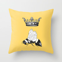 Queen Bee Throw Pillow by Catherine Holcombe | Society6