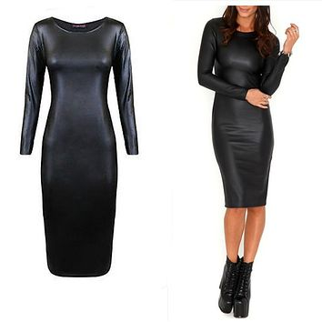Sexy Club Dress Black Bodycon Dress Leather Look Pencil Dress Sexy Knee Length Dress Long Sleeve Cheap Discount