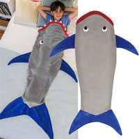 Mermaid Shark Tail Fleece Blanket for Kids Soft Warm Cartoon Animal Sleeping Bag Pajamas Overalls Children Quilt Velvet