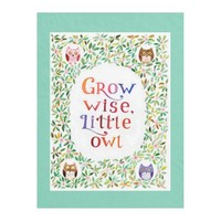 Grow wise little owl watercolor art