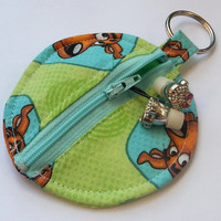 Scooby Doo Circle Earbud Holder Pouch / Coin Purse / Scooby-Doo / Lime Green / Aqua / Mystery Incorporated