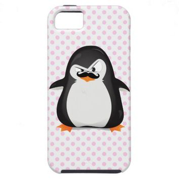 Cute Black  White Penguin And  Funny Mustache iPhone 5 Cases from Zazzle.com