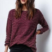 LA Hearts Textured Yarn Pullover Sweater - Womens Sweater - Red - Small