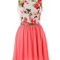 Floral Statement Dress - Coral