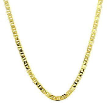 Gold Layered Basic Necklace, Mariner Design, Golden Tone