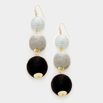 Black Tri Tone Bon Bon Style Earrings, Thread Ball Earrings, Triple Ball Drop Earrings, Drop Earrings, Silk Thread Wrapped Earrings