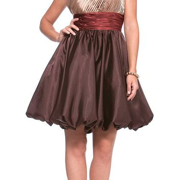 CLEARANCE LIMITED STOCK - Champagne Homecoming Dress Short  Empire Bubble One Shoulder
