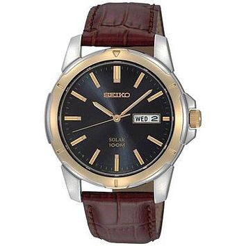 Seiko Solar Mens Two-Tone Day/Date Watch - Black Dial - Brown Leather Strap