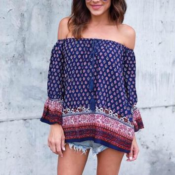 Off Shoulder Sexy Blouses Boho Print Long Sleeve Floral Print Shirt