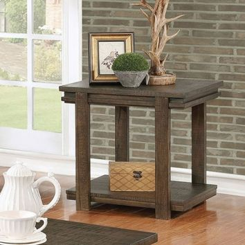 Furniture of america CM4866E Gijon rustic walnut finish wood end table