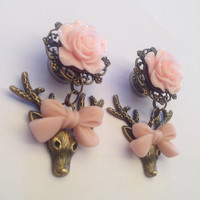 Rose Filigree Deer Bow Ear Plugs