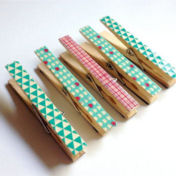 Blue and Pink Clothespin Magnets, Decorated Clothespin Magnets, Set of Five