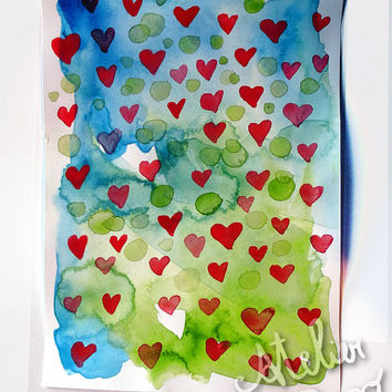 Watercolor painting hearts , abstract, original artwork on paper ,5.90 x 7.08 inches,love decor , fine art aquarelle, romantic watercolor