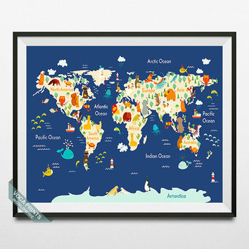 Animal World Map, World Map Poster, Animal Map Print, Wall Art, Nursery Room Art, Playroom Decor, Kids Room Art, Back To School