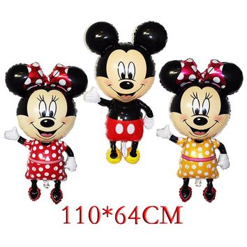 110*64cm bowknot Mickey Minnie Mouse foil Balloons Classic kids Toys Birthday Party Supplies Big Size Mickey Christmas balloons