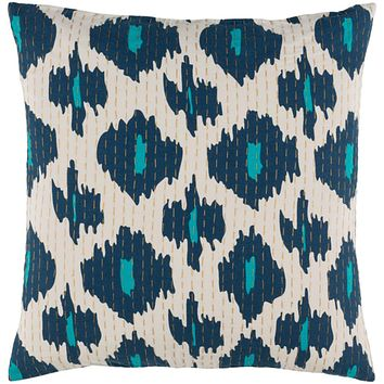 Kantha Pillow Cover - Navy, Teal, Wheat, Cream - KTH002
