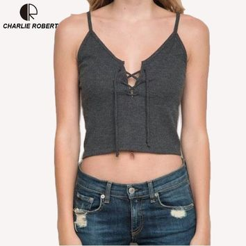 CR Sexy Camis Women Front Cross Lacing Up Strappy Bustier Crop Top Cotton T-shirt Solid