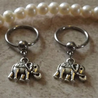 Nipple Ring Elephant Captive Hoop Belly/ Navel Earring Body Jewelry