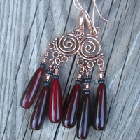 Copper Spiral , Red Horn , Statement , Chandelier Earrings , Boho Dangle Earrings, Tribal Horn