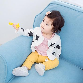 Cute Stars Print Girls Sweaters Knitted Cardigan Spring Autumn Children Top Clothes Baby Girls Long Sleeve Shirts 2017