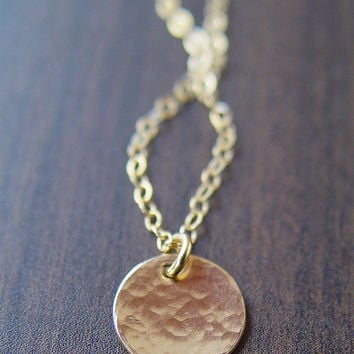 Hammered Round Disc Necklace 14k Gold