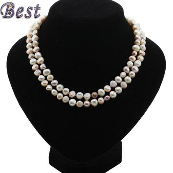 SNH 8mm baroque AA 90cm  real genuine freshwater pearl necklace for woman mixed color natural cultured pearl necklace pendant