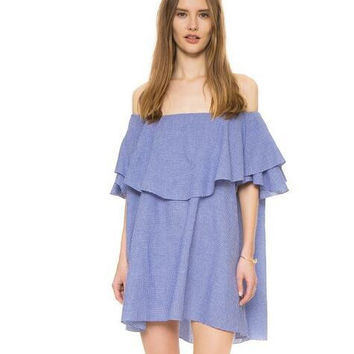 Blue Off The Shoulder Micro Plaid Ruffle Dress [6259171396]