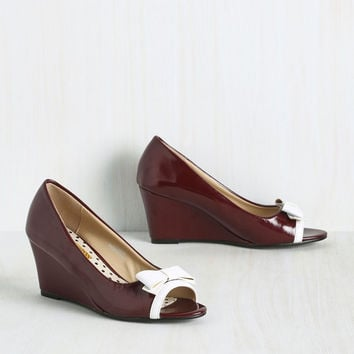 Tearoom Mates Wedge in Burgundy | Mod Retro Vintage Heels | ModCloth.com
