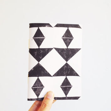Triangle Notebook, Geometric Journal, Black and White, Tribal, Hand Bound Eco Notebook