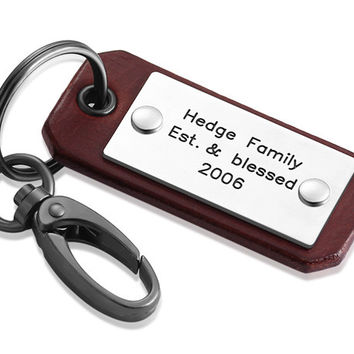 Personalized Keychain - Custom Hand Stamped Leather Men's Keychain - Hand Crafted Leather Keyring